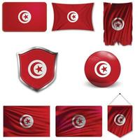 Conjunto de la bandera nacional de Túnez en diferentes diseños sobre un fondo blanco. ilustración vectorial realista. vector