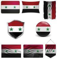 conjunto de la bandera nacional de siria en diferentes diseños sobre un fondo blanco. ilustración vectorial realista. vector