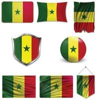Set of the national flag of Senegal in different designs on a white background. Realistic vector illustration.