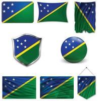 conjunto de la bandera nacional de las islas salomón en diferentes diseños sobre un fondo blanco. ilustración vectorial realista. vector