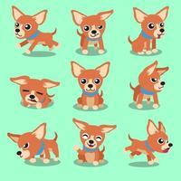 Cartoon character brown chihuahua dog poses vector