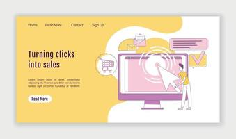 Turning clicks into sales landing page flat silhouette vector template. PPC marketing homepage layout. One page website interface with cartoon outline character. Traffic generation web banner, webpage