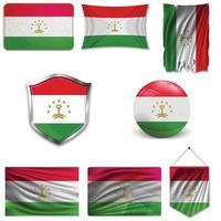 conjunto de la bandera nacional de Tayikistán en diferentes diseños sobre un fondo blanco. ilustración vectorial realista. vector