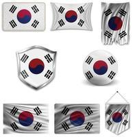 conjunto de la bandera nacional de corea del sur en diferentes diseños sobre un fondo blanco. ilustración vectorial realista. vector