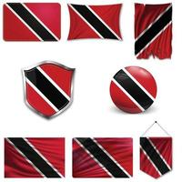 Set of the national flag of Trinidad and Tobago in different designs on a white background. Realistic vector illustration.