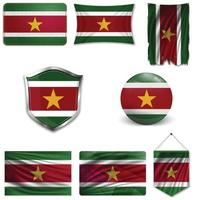 Set of the national flag of Suriname in different designs on a white background. Realistic vector illustration.