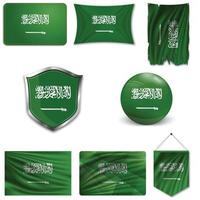 conjunto de la bandera nacional de arabia saudita en diferentes diseños sobre un fondo blanco. ilustración vectorial realista. vector