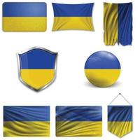 Set of the national flag of Ukraine in different designs on a white background. Realistic vector illustration.