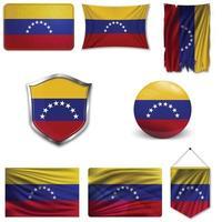 conjunto de la bandera nacional de venezuela en diferentes diseños sobre un fondo blanco. ilustración vectorial realista. vector