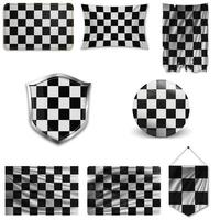 Set of checkered black and white racing flags in different designs on a white background. Realistic vector illustration.