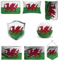 conjunto de la bandera nacional de gales en diferentes diseños sobre un fondo blanco. ilustración vectorial realista. vector