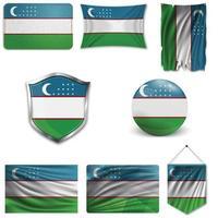 conjunto de la bandera nacional de uzbekistán en diferentes diseños sobre un fondo blanco. ilustración vectorial realista. vector