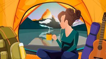 Vector background girl with a cup in a tent looks at the mountain