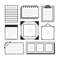 Set of different note papers on isolated background. Vector illustration