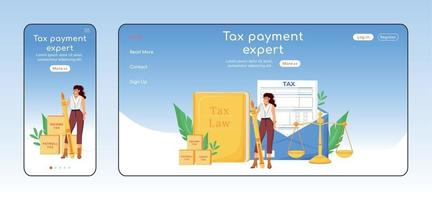 Tax payment expert adaptive landing page flat color vector template. Financial consultancy mobile and PC homepage layout. Economist service one page website UI. Webpage cross platform design