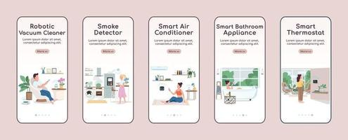 IOT devices onboarding mobile app screen flat vector template. Smart home appliances control walkthrough website steps with characters. UX, UI, GUI smartphone cartoon interface, case prints set