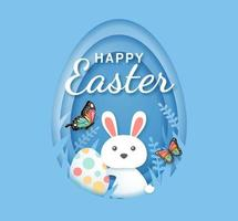 Easter day banner template with rabbit and easter egg paper-cut style vector