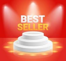 Podio de soporte de exhibición de best seller con ilustración de vector de foco