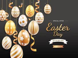 Happy easter celebration sale banner vector