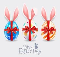Happy easter celebration banner with eggs vector