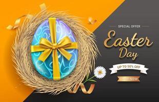 Feliz celebración de pascua venta banner huevo con cinta dorada en el nido vector