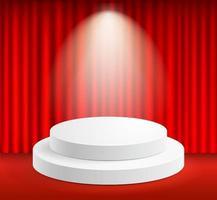 expositor podio y cortinas de escenario con foco vector