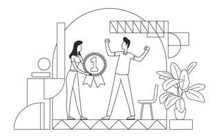 Ilustración de vector de delgada línea de premio de reconocimiento de empleados. El empleador y el mejor trabajador describen los personajes sobre fondo blanco. motivación del personal, apreciación del talento, gestión de recursos humanos, dibujo de estilo simple