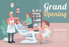 Grand opening banner flat vector template. Brochure, poster concept design with cartoon characters. Hairstylist visit. Make up artist. Beauty salon horizontal flyer, leaflet with place for text