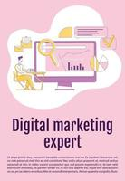 Digital marketing expert poster flat silhouette vector template. SEO analysis brochure, booklet one page concept design with cartoon characters. Internet research flyer, leaflet with text space
