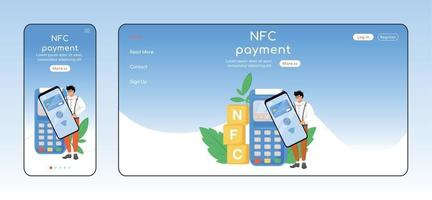 NFC payment adaptive landing page flat color vector template. Contactless transaction mobile and PC homepage layout. Fintech one page website UI. E payment application webpage cross platform design