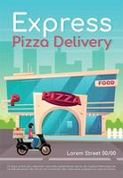 Express pizza delivery poster flat vector template. Pizzeria, restaurant. Fast food order. Catering service. Brochure, booklet one page concept design with cartoon characters. Cafeteria flyer, leaflet