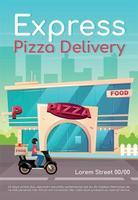 Plantilla de vector plano de cartel de entrega de pizza exprés. pizzería, restaurante. orden de comida rápida. servicio de catering. folleto, folleto de diseño de concepto de una página con personajes de dibujos animados. folleto de cafetería, folleto