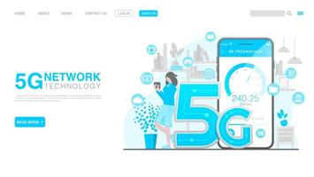 5G Network Wireless Technology Concept. Landing Page in Flat Style vector