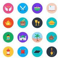 conjunto de iconos culturales islámicos vector