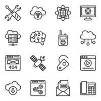 conjunto de iconos de red y tecnología vector
