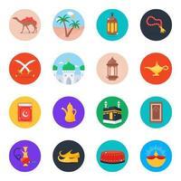 Islamic Cultural Icon Set vector