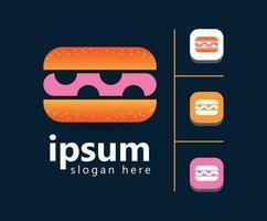 diseño de logotipo de comida de hamburguesa para negocio victor vector