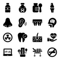 Medical and Healthcare Accessories Icon Set