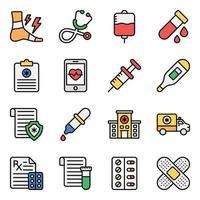 conjunto de iconos de accesorios médicos y sanitarios vector