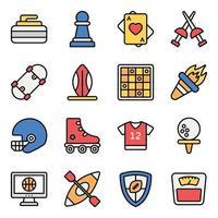 conjunto de iconos de elementos deportivos y fitness vector