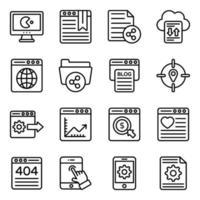 conjunto de iconos de marketing y negocios vector