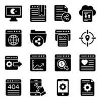 conjunto de iconos de análisis de datos y marketing digital vector