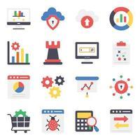 Digital Marketing and Data Analytics Icon Set vector