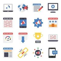 Digital Marketing and Data Analytics Icon Set vector
