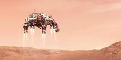 Rover landing on the red planet mars, elements of this image furnished by NASA, 3D illustration