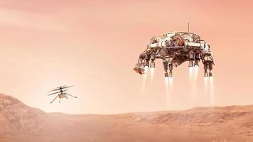 Ingenuity helicopter and mars rover landing on the red planet, elements of this image furnished by NASA, 3D illustration