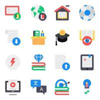 Learning and Education Elements Icon Set vector