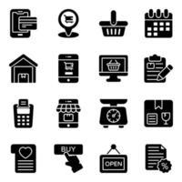 conjunto de iconos de compras y comercio en línea vector