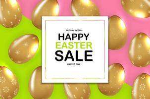 Happy Easter sale poster template with 3d realistic Easter eggs. Template for advertising, poster, flyer, greeting card. Vector Illustration EPS10