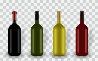 Colorful naturalistic closed 3D wine bottle of different colors without label. Vector Illustration